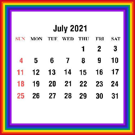 Cute July 2021 Calendar Free
