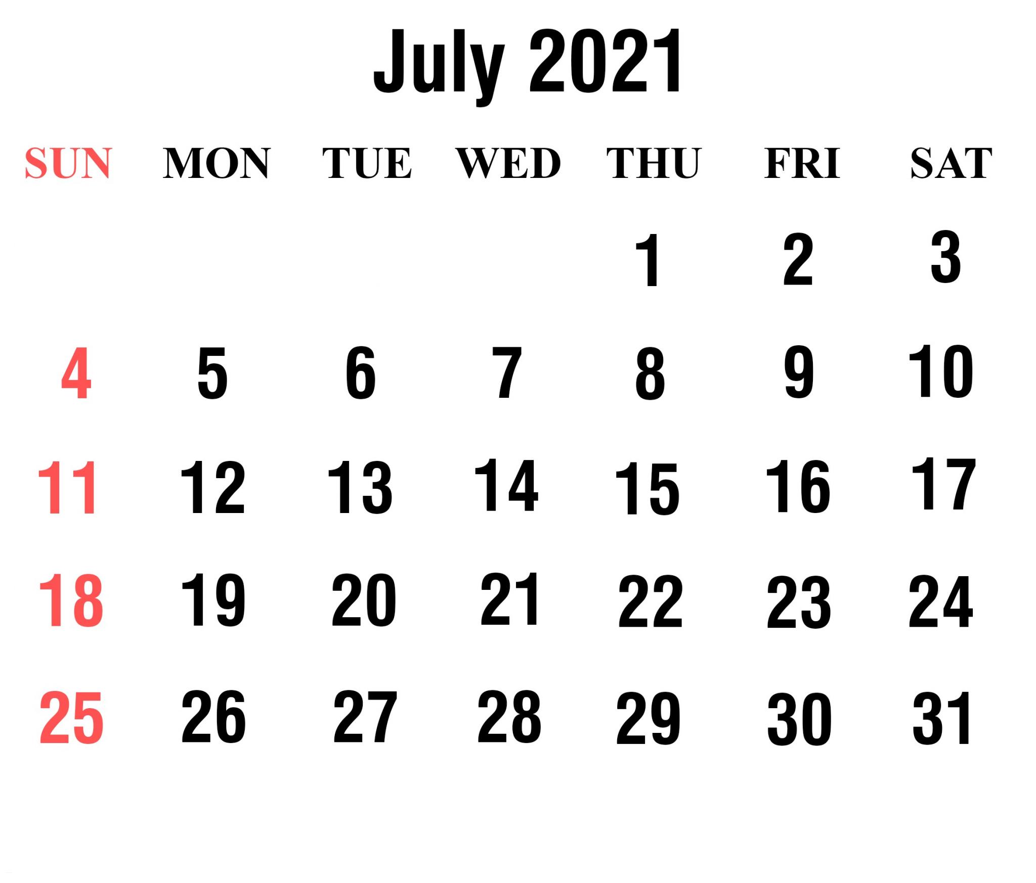 Cute July 2021 Calendar Holidays