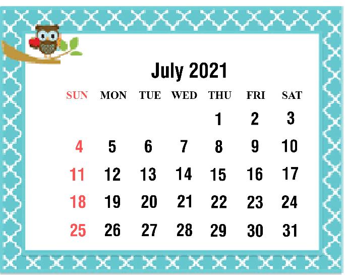 Cute July 2021 Calendar Monthly