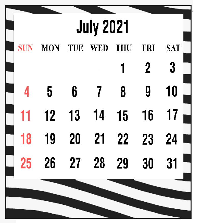 Cute July 2021 Calendar PDF
