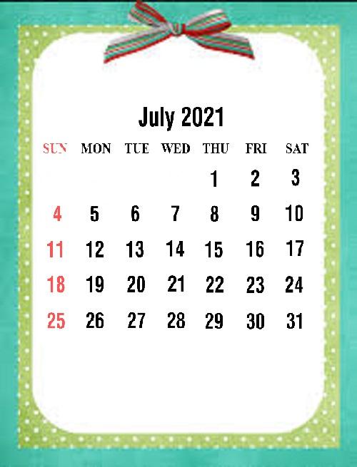 Cute July 2021 Calendar Wallpaper