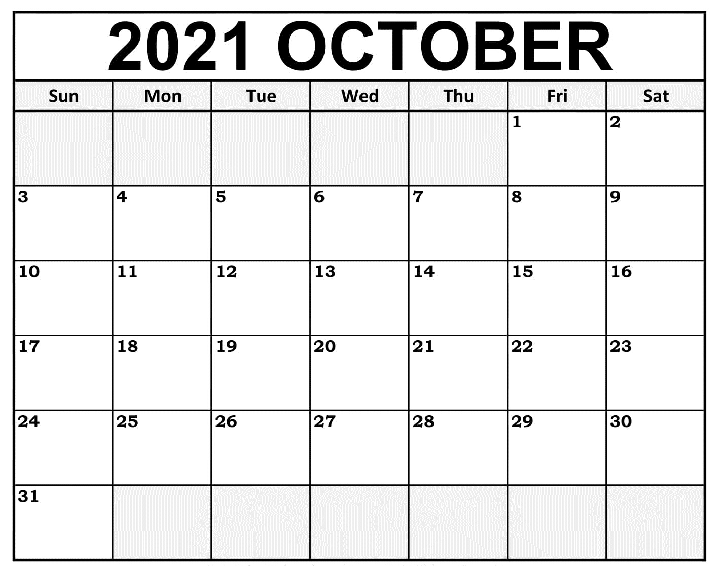 Blank October 2021 Calendar Excel