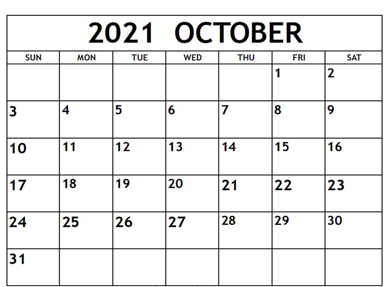 Blank October 2021 Calendar Free