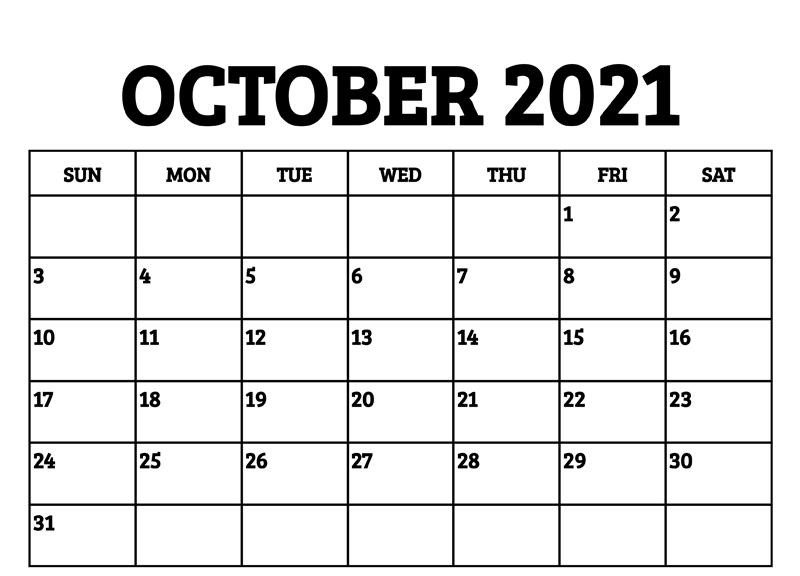 Blank October 2021 Calendar PDF
