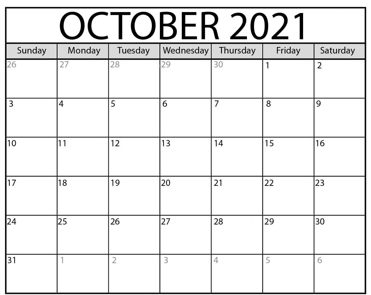 Blank October 2021 Calendar Printable