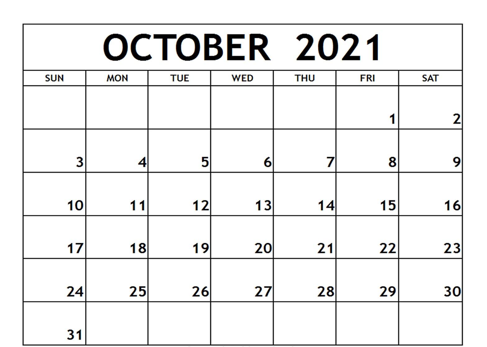 Blank October 2021 Calendar School