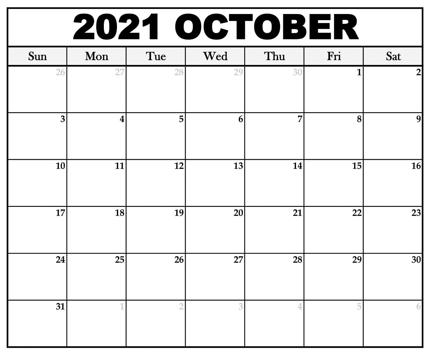 Blank October 2021 Calendar Template