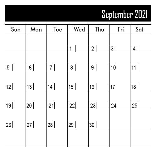 Blank September 2021 Calendar Daily