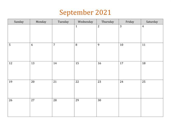 Blank September 2021 Calendar Downloadq