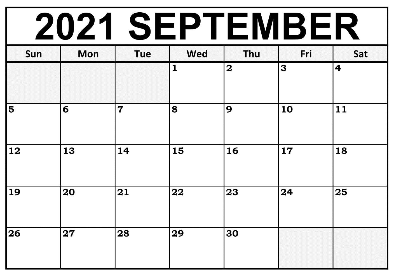 Blank September 2021 Calendar Excel