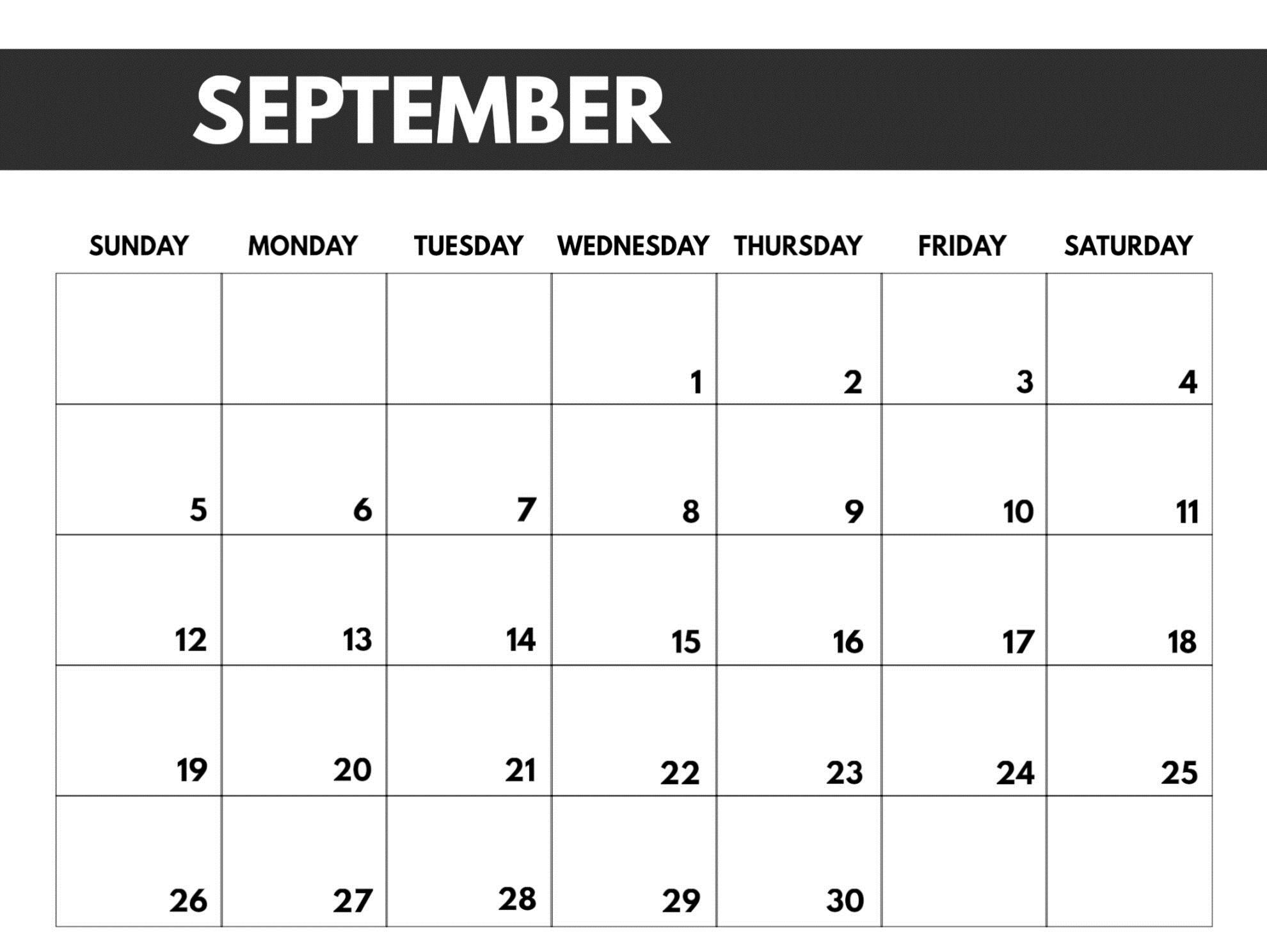 Blank September 2021 Calendar Free