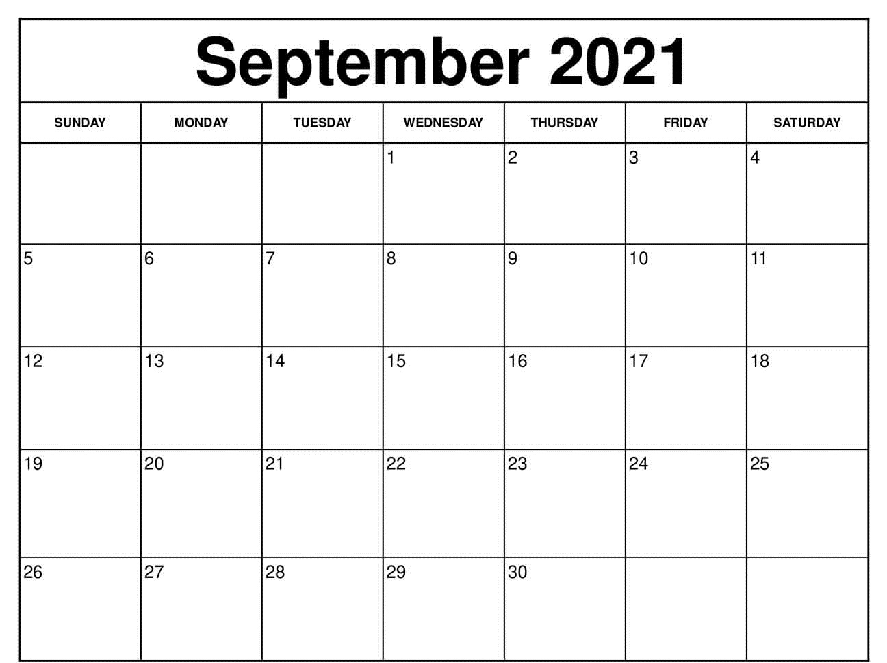 Blank September 2021 calendar With Holidays