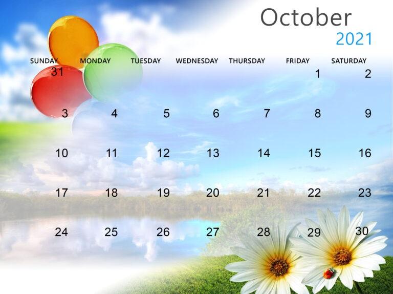 Cute October 2021 Calendar Children
