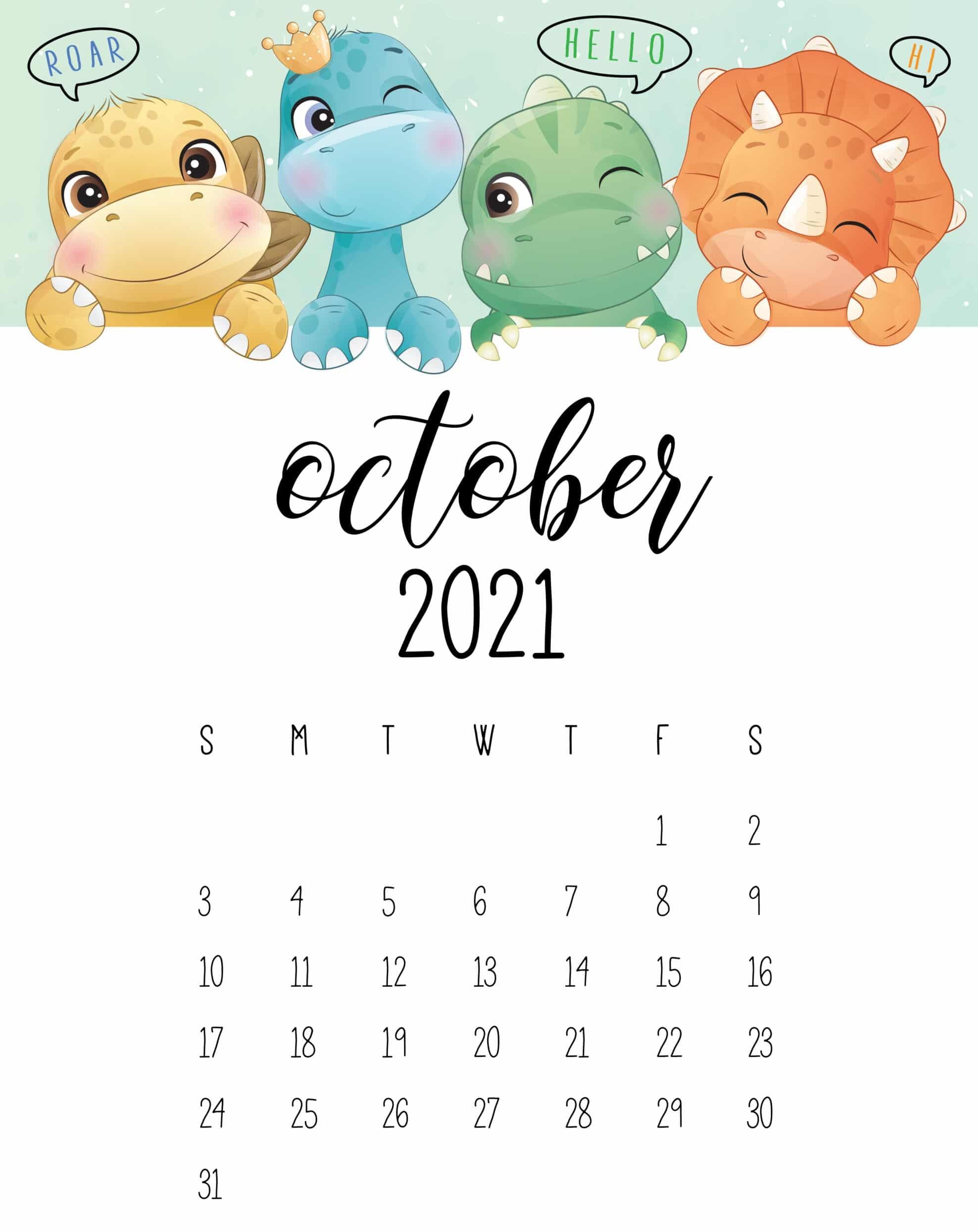Cute October 2021 Calendar Free