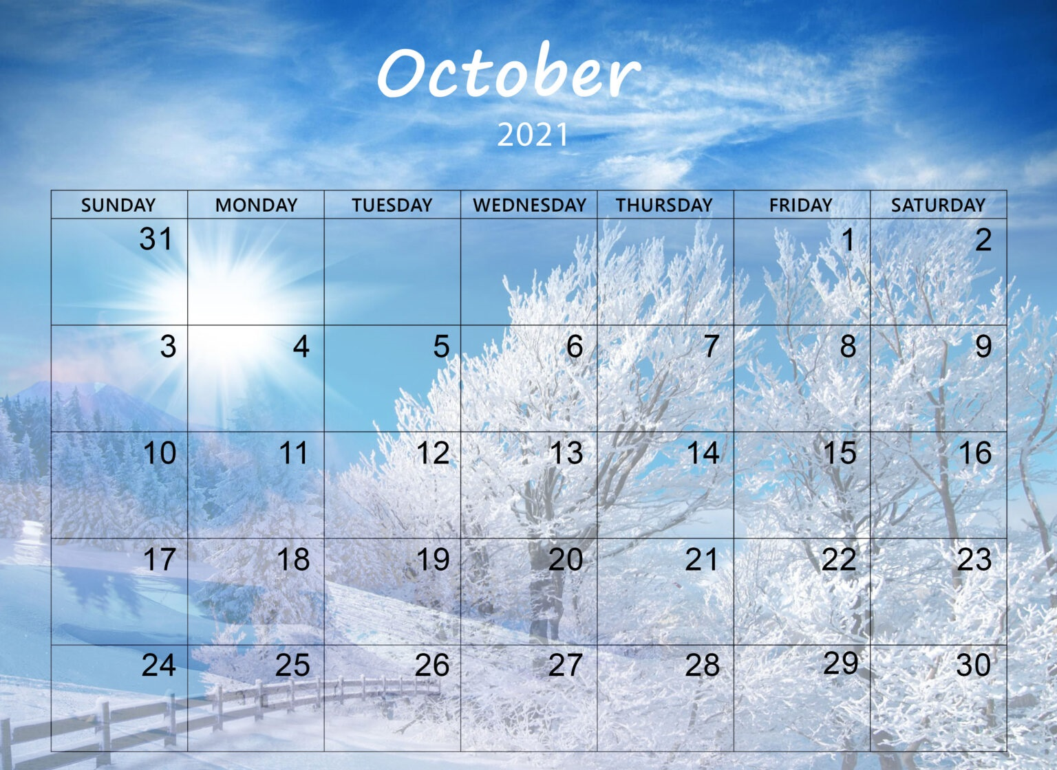 Cute October 2021 Calendar Online