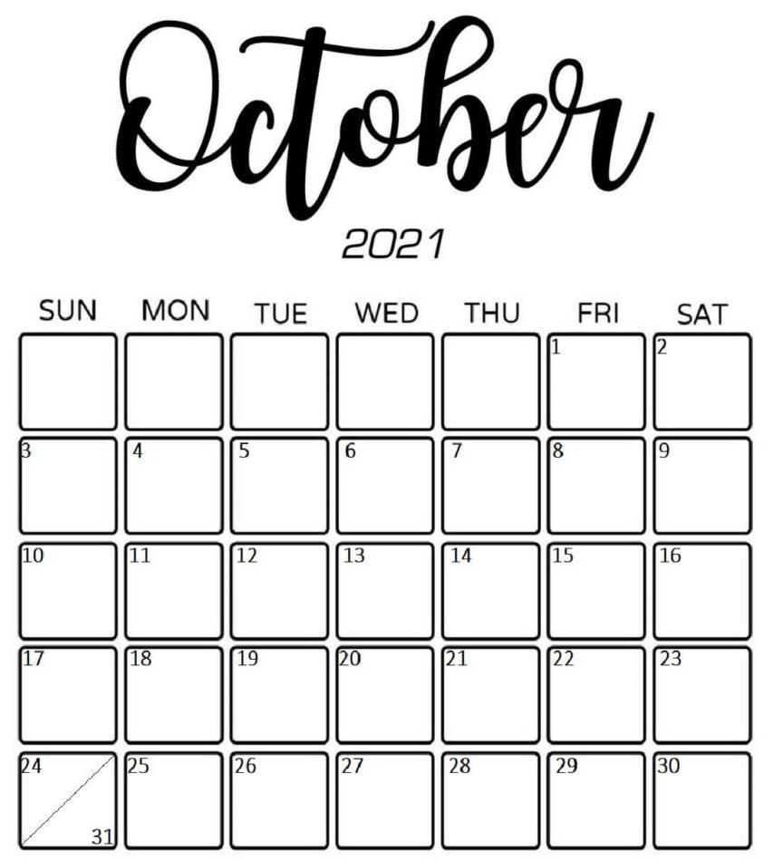 Cute October 2021 Calendar download