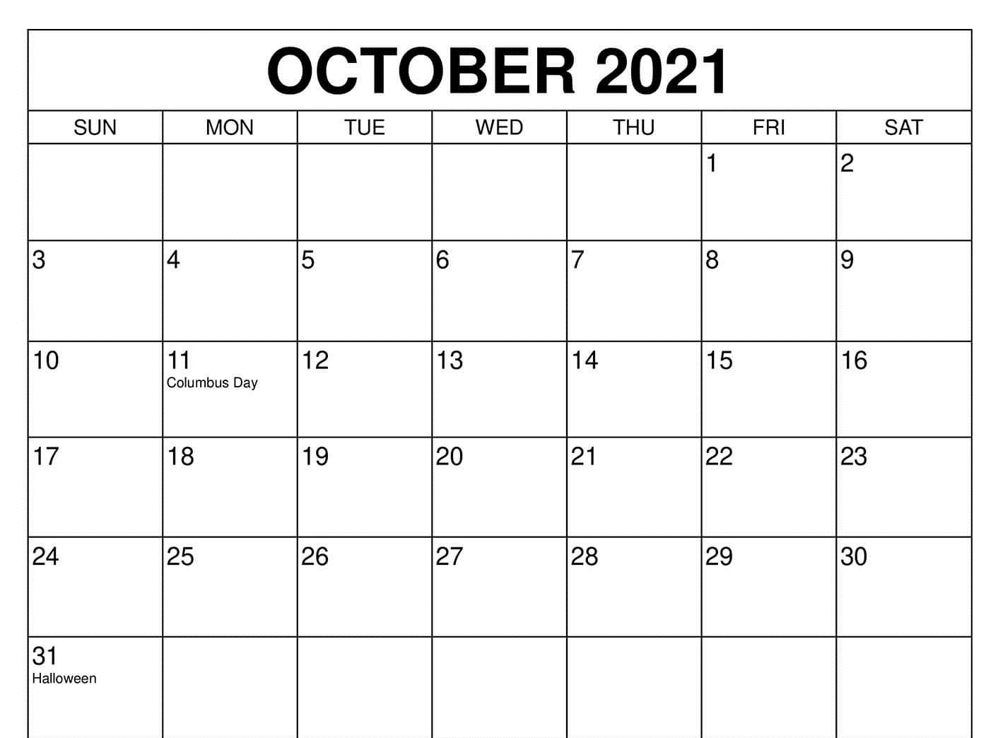 Cute October 2021 Calendar with Holidays