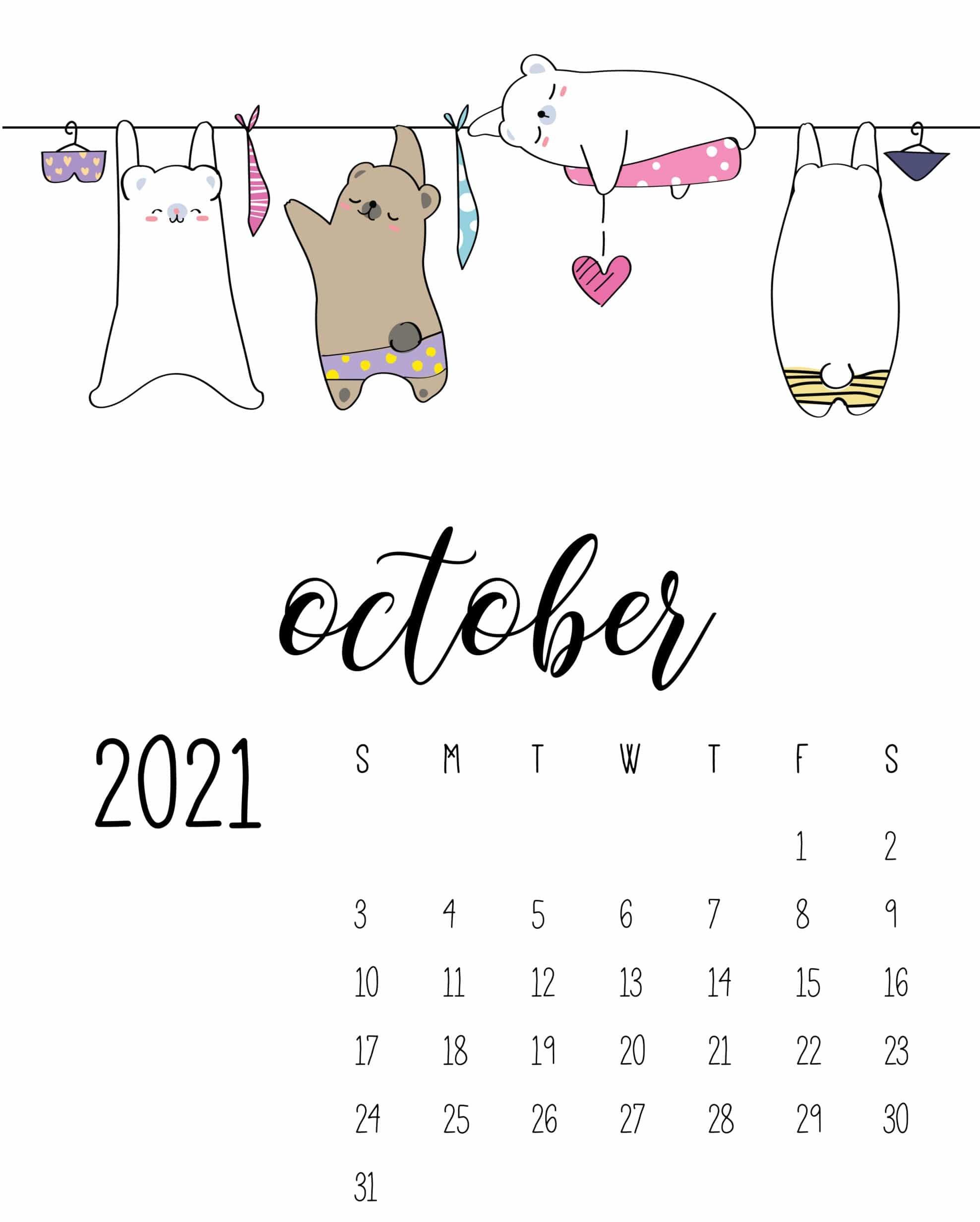 Cute October 2021 Calendar