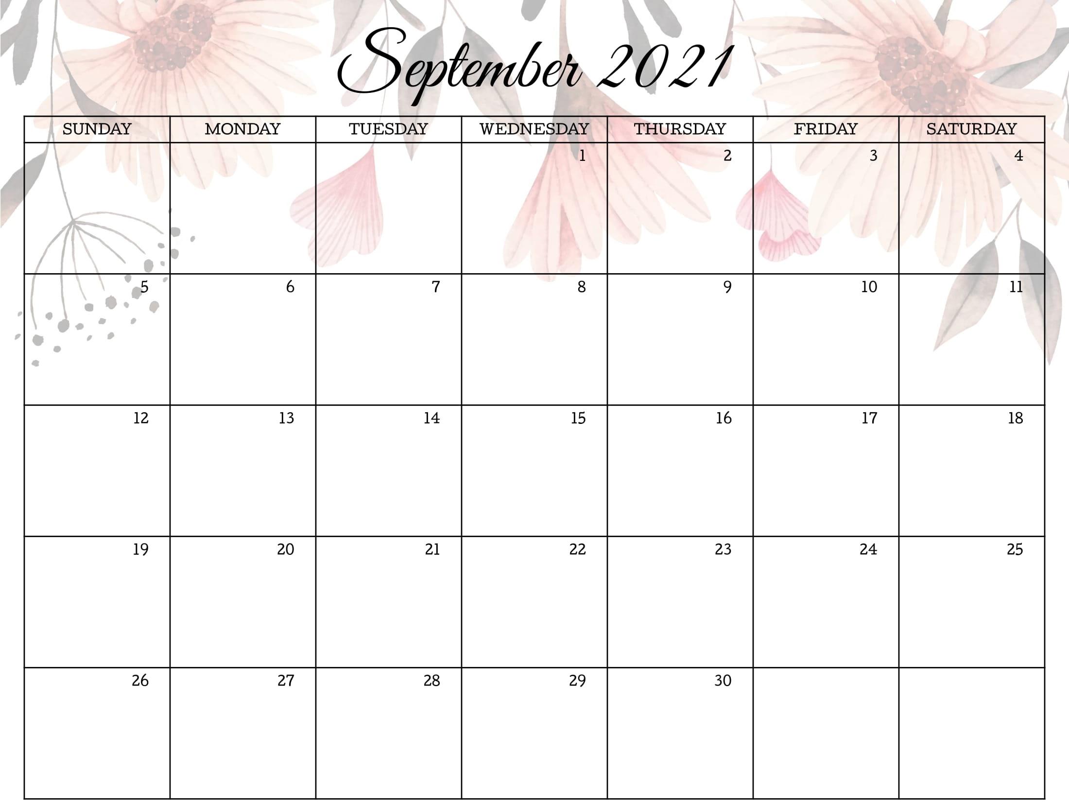 Cute September 2021 Calendar Download