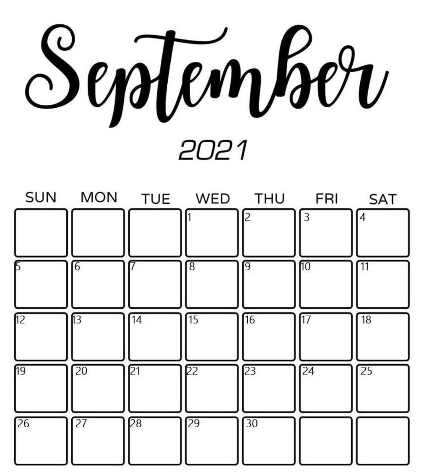 Cute September 2021 Calendar Pretty