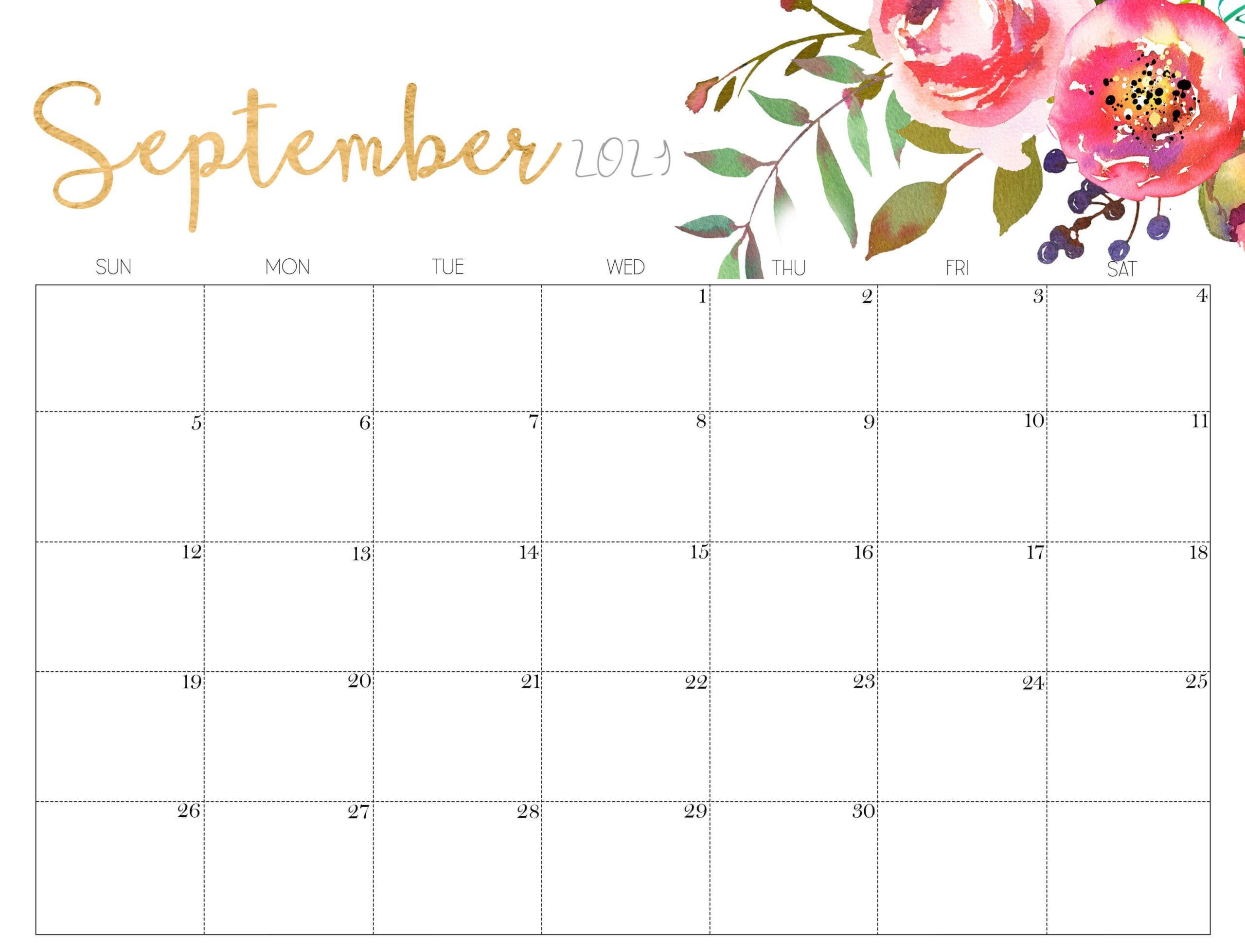 Cute September 2021 Calendar with Notes
