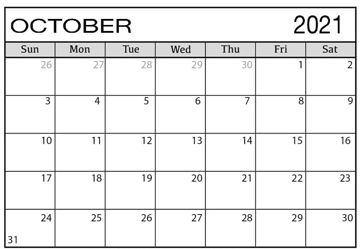 Daily October 2021 Calendar Blank