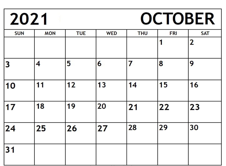 Daily October 2021 Calendar Printable