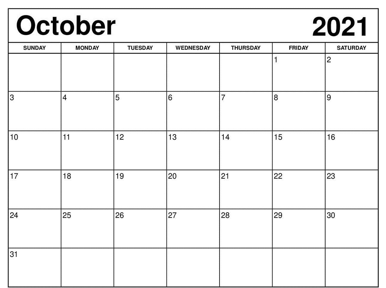 Daily October 2021 Calendar Template