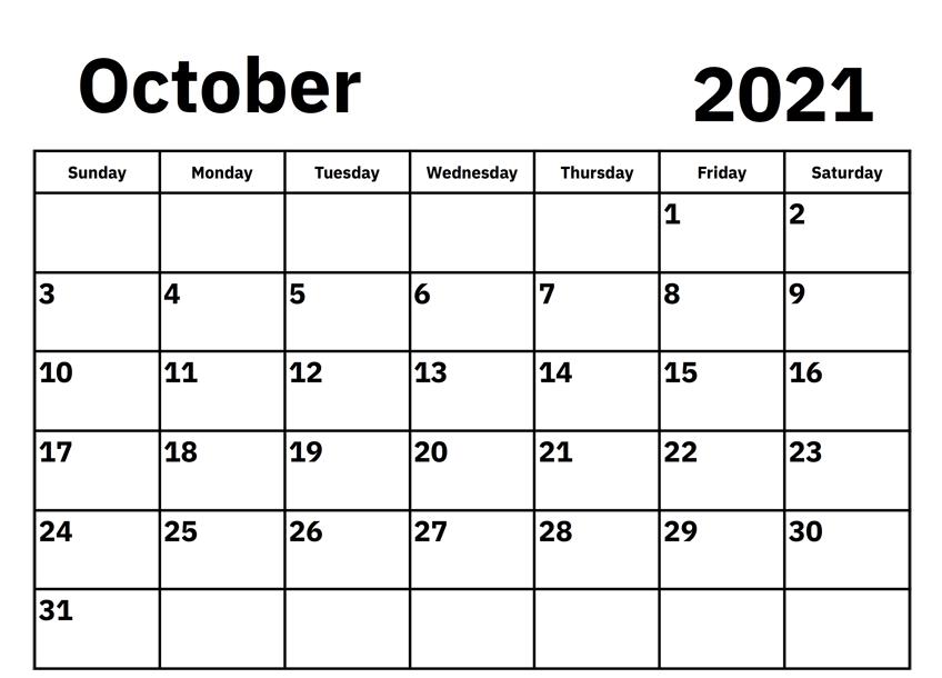 Daily October 2021 Calendar download