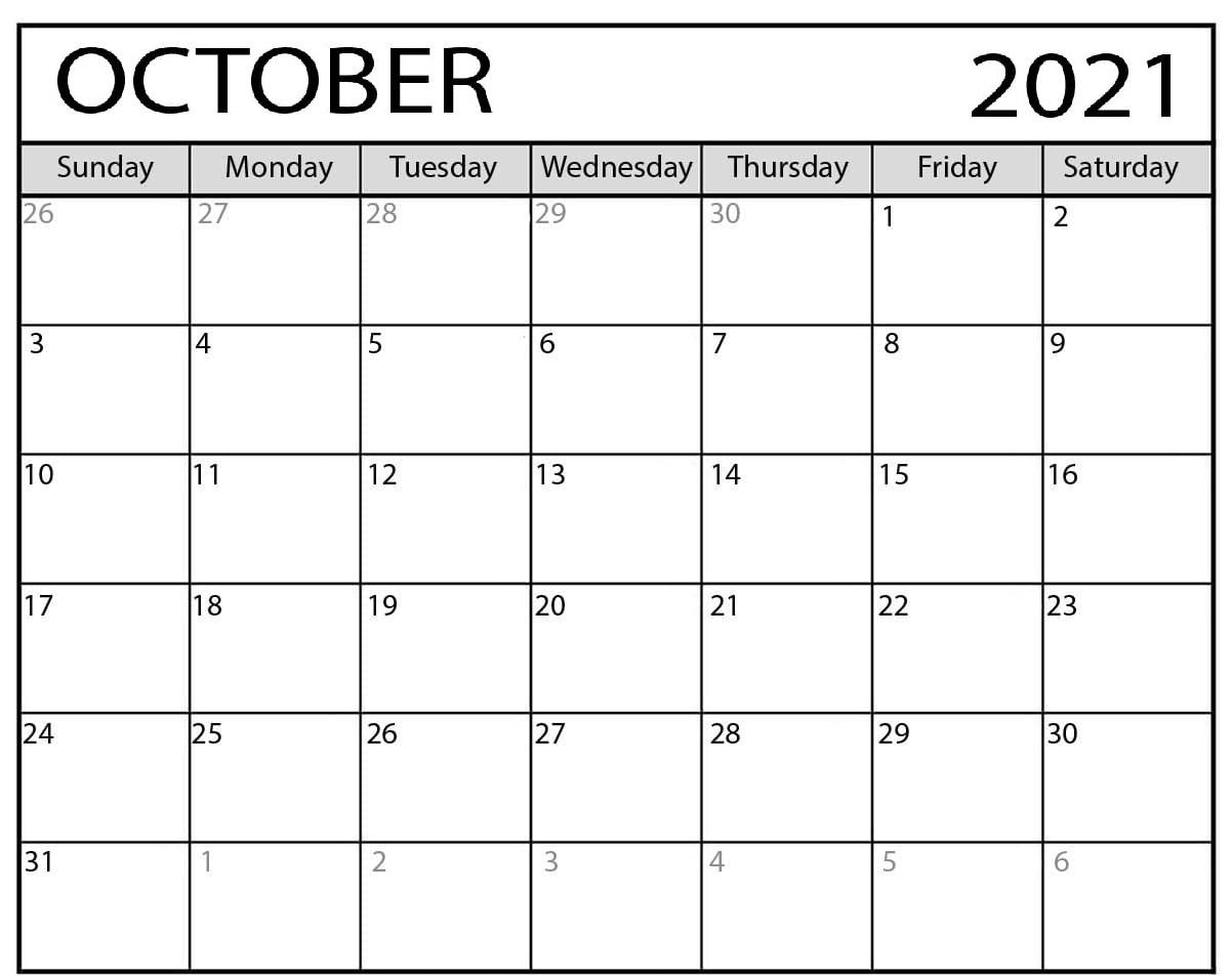 Daily October 2021 Calendar