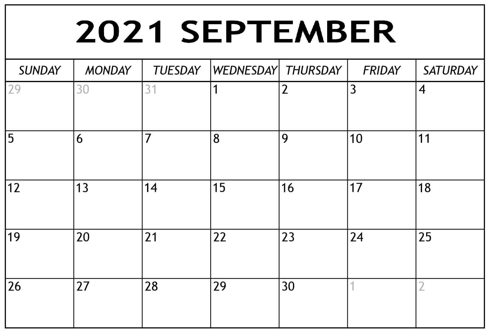 Daily September 2021 Calendar Blank