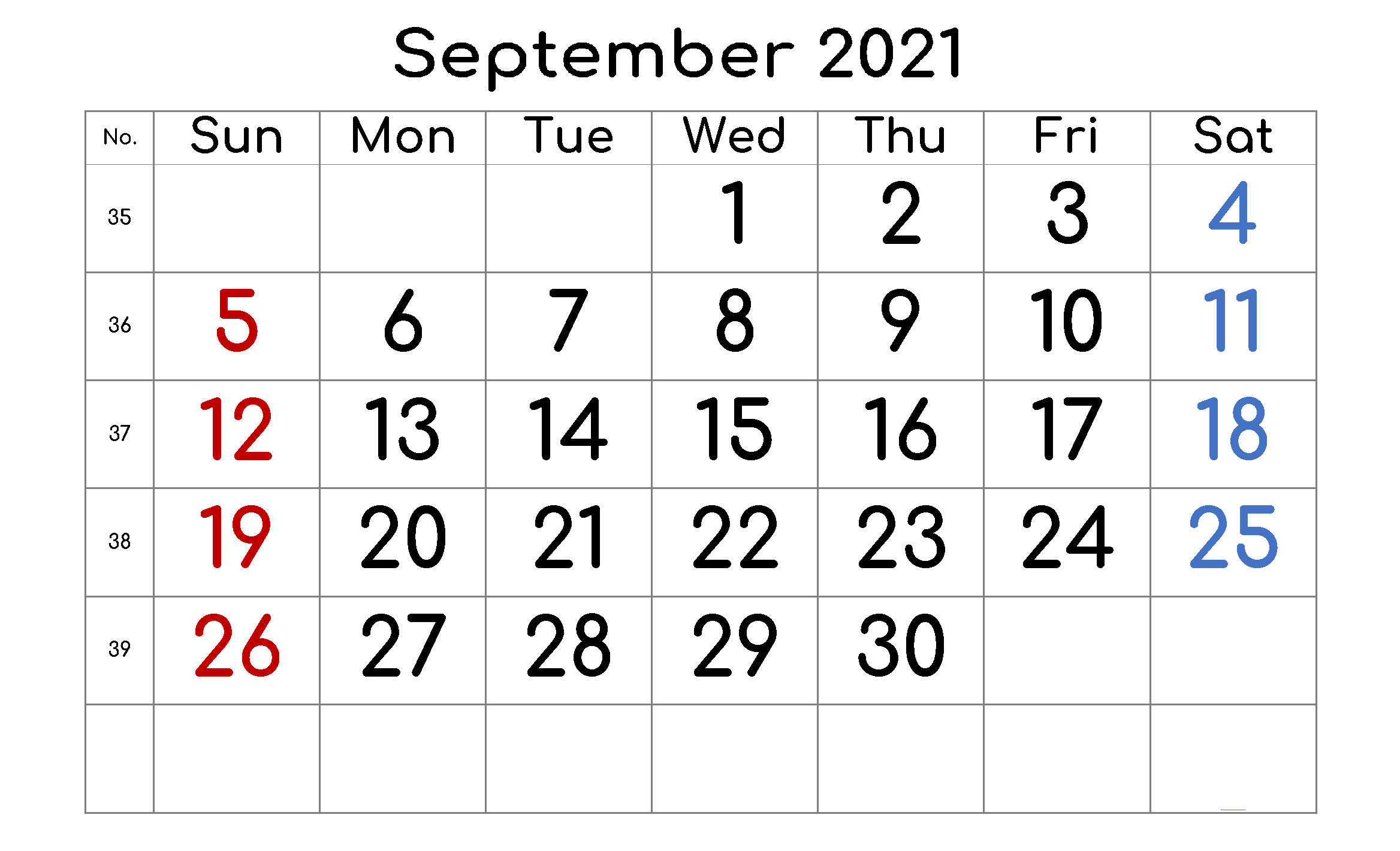 Daily September 2021 Calendar Holidays