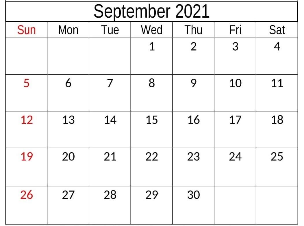 Daily September 2021 Calendar Print