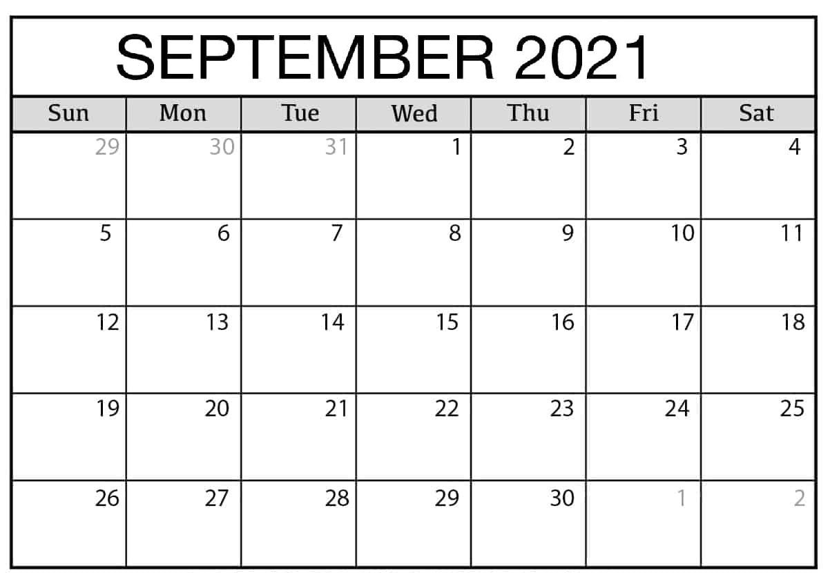 Daily September 2021 Calendar Printable