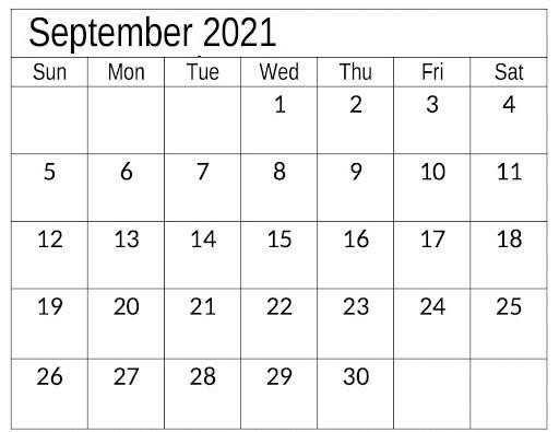 Daily September 2021 Calendar School