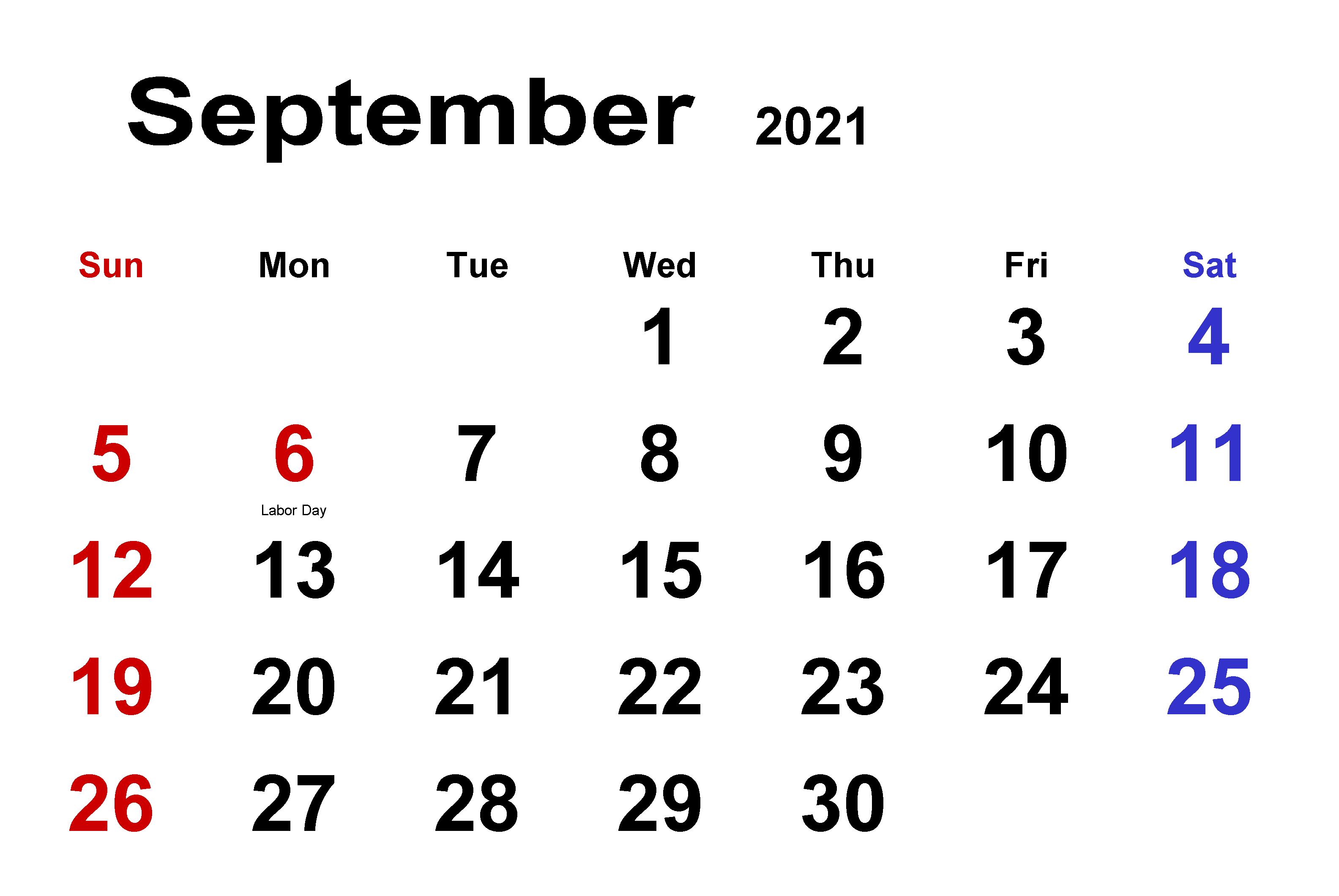 Daily September 2021 Calendar download