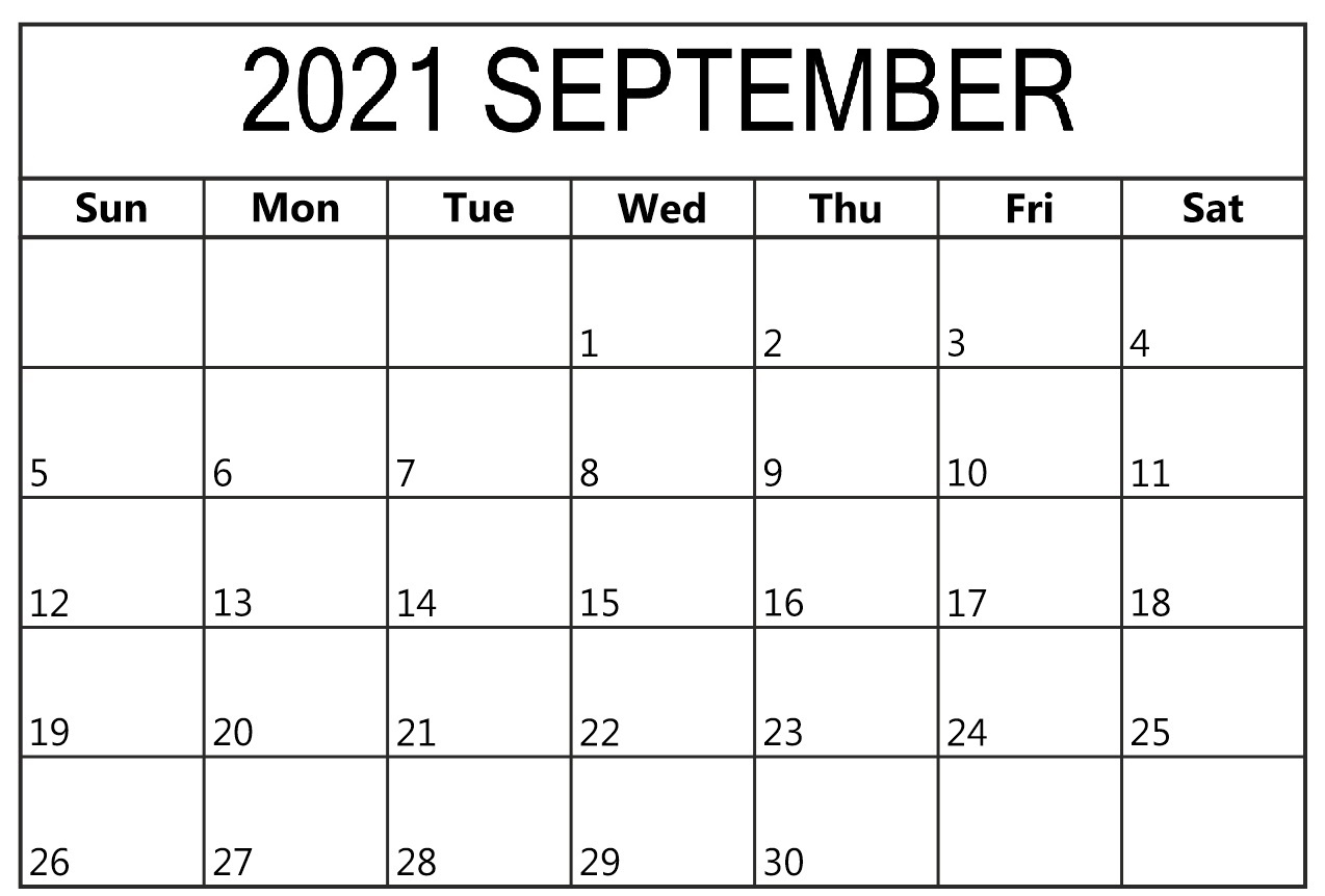 Daily September 2021 Calendar