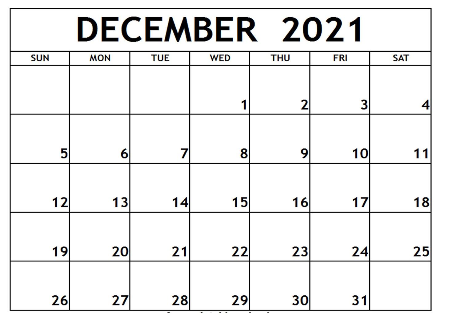December 2021 Calendar Free