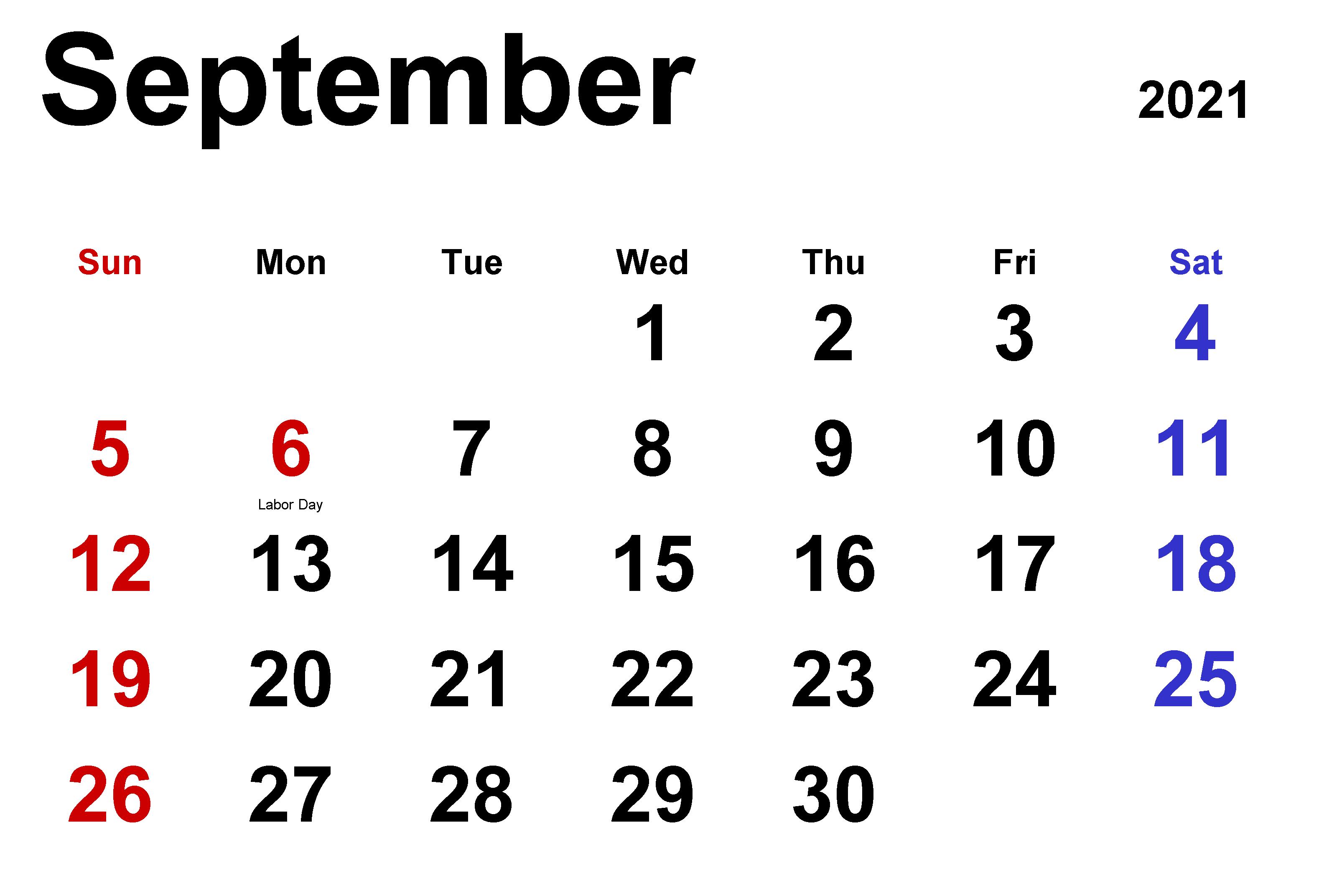 Download September 2021 Calendar Planner