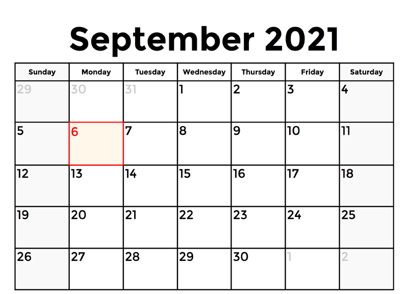 Edit September 2021 Calendar With Holidays