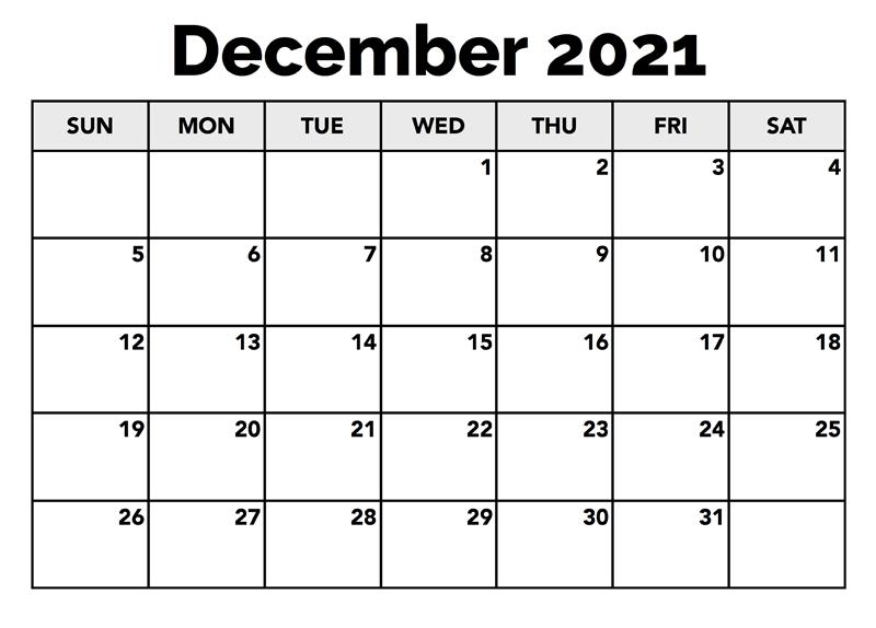 Free December 2021 Calendar
