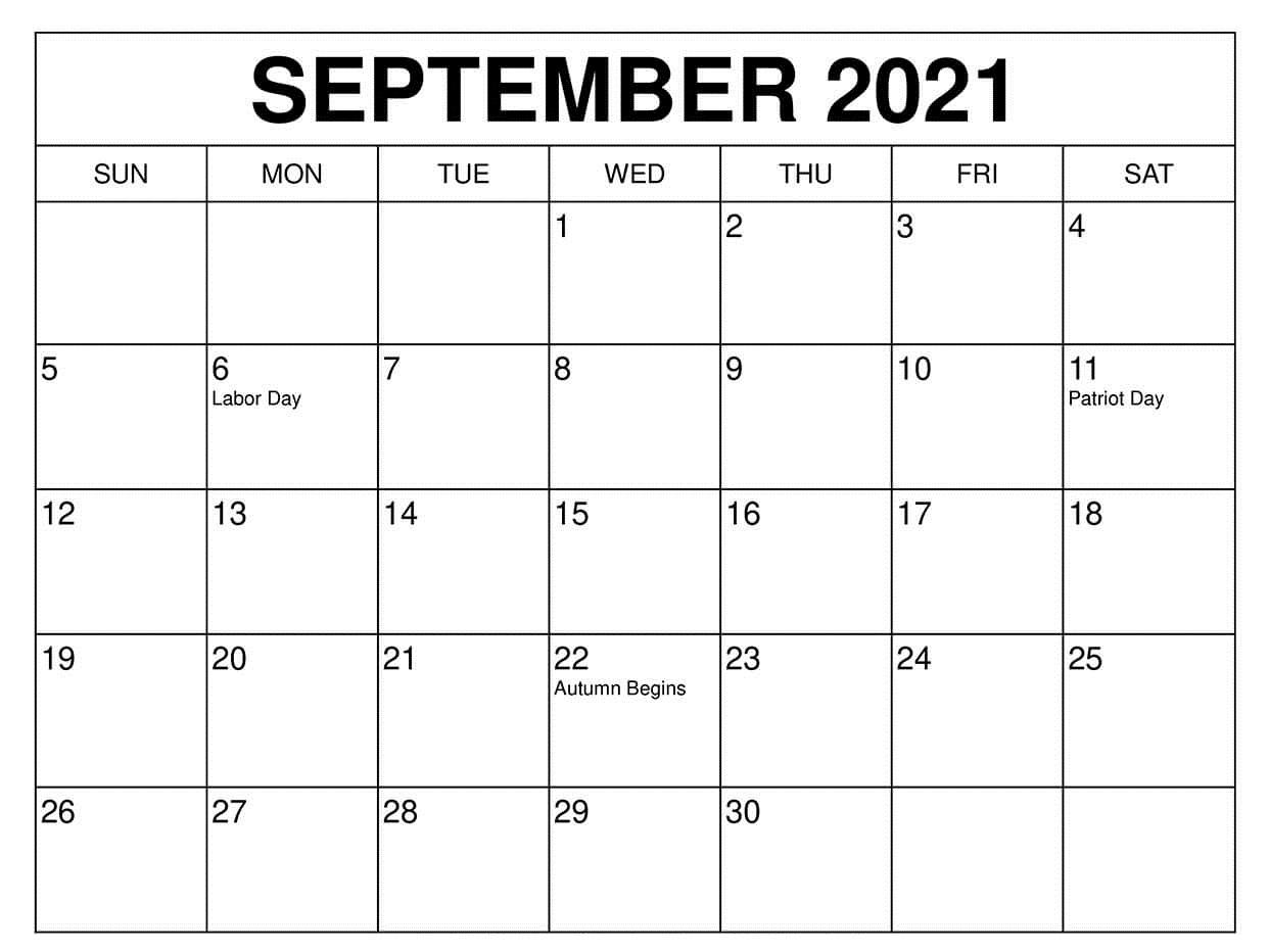 Free September 2021 Calendar Planner