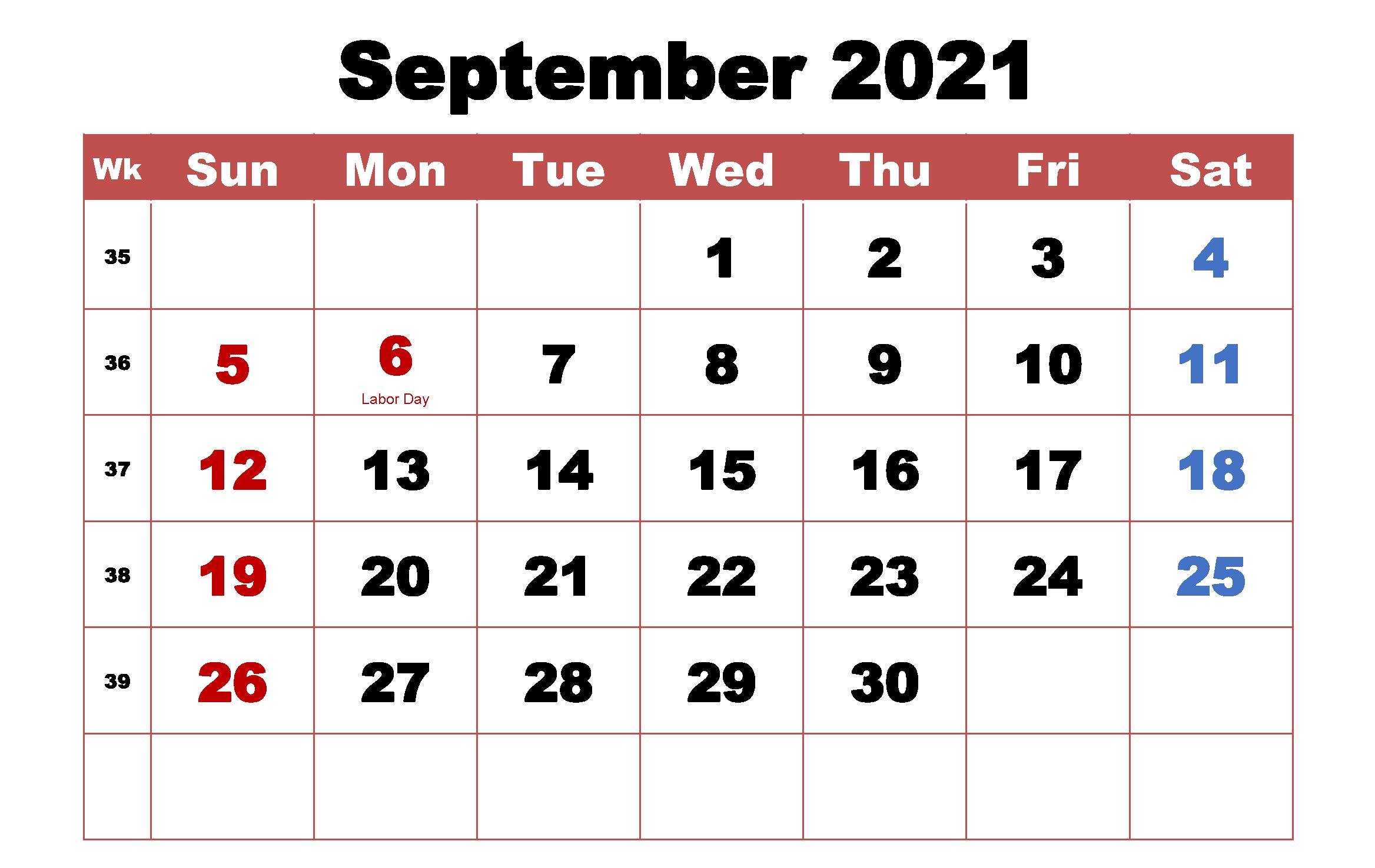 Free September 2021 Calendar With Holidays