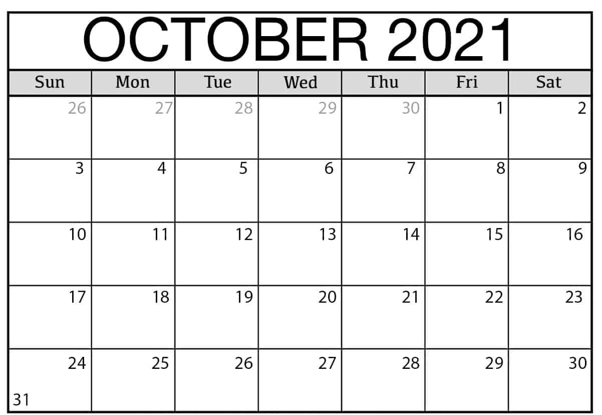 October 2021 Calendar Blank