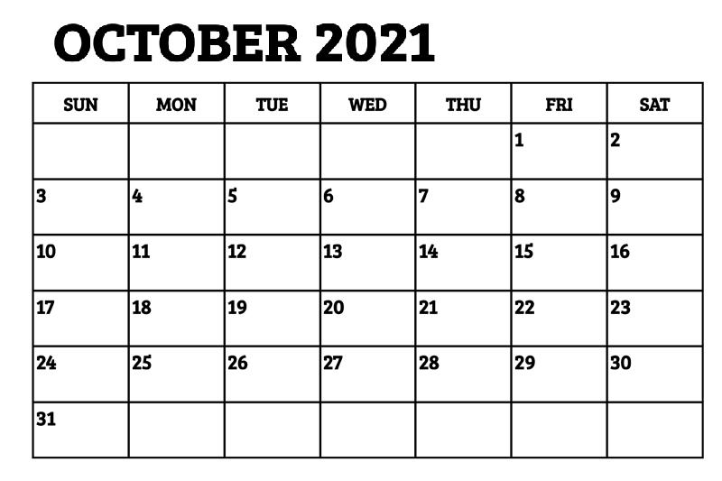 October 2021 Calendar Daily