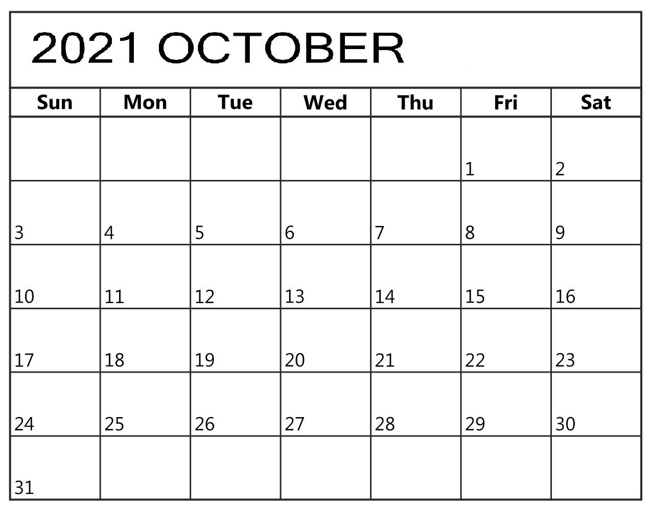October 2021 Daily Calendar