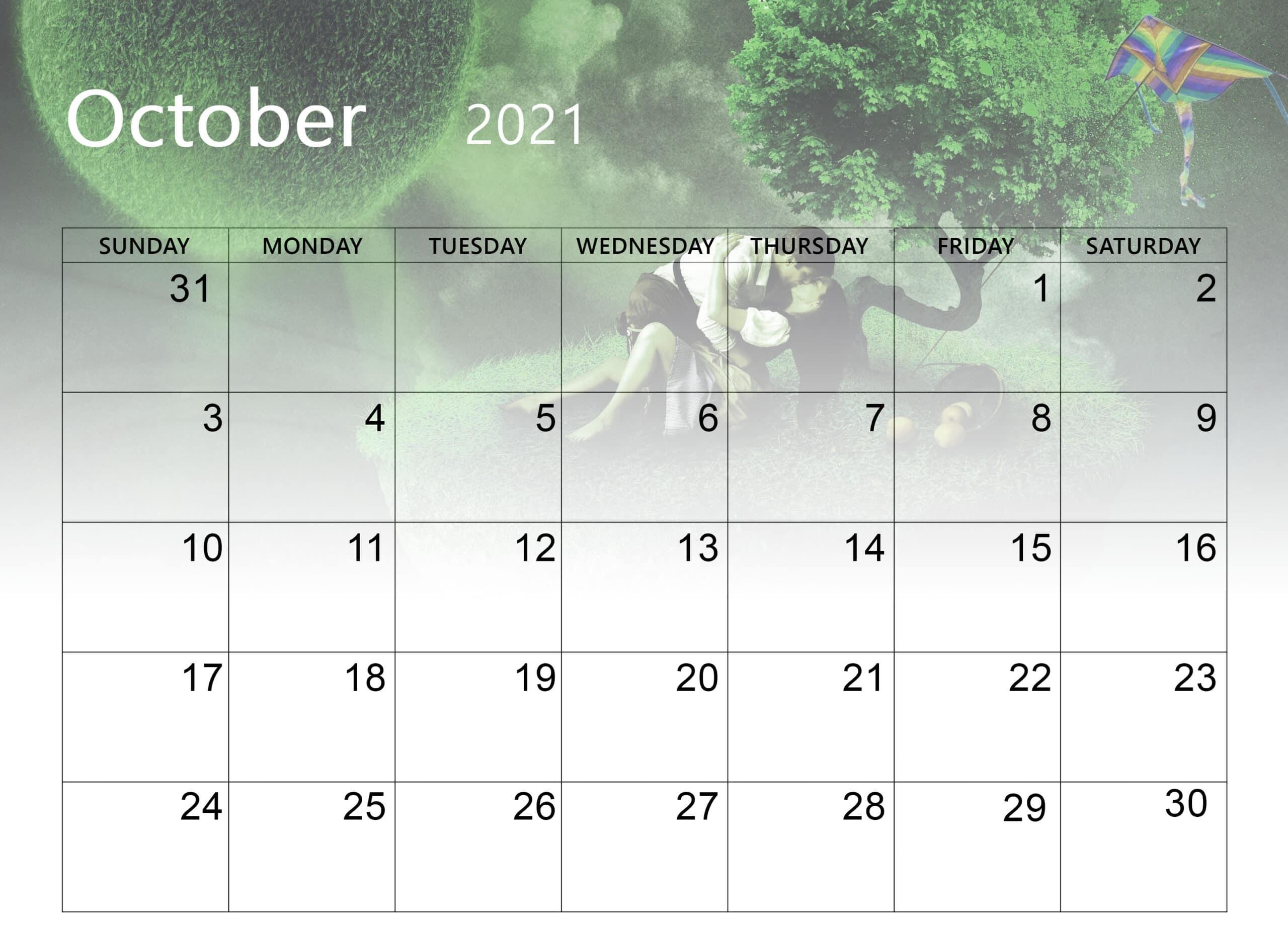 October 2021 cute Calendar