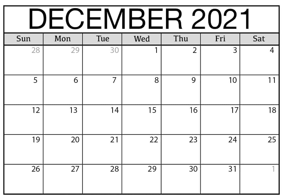 Print December 2021 Calendar
