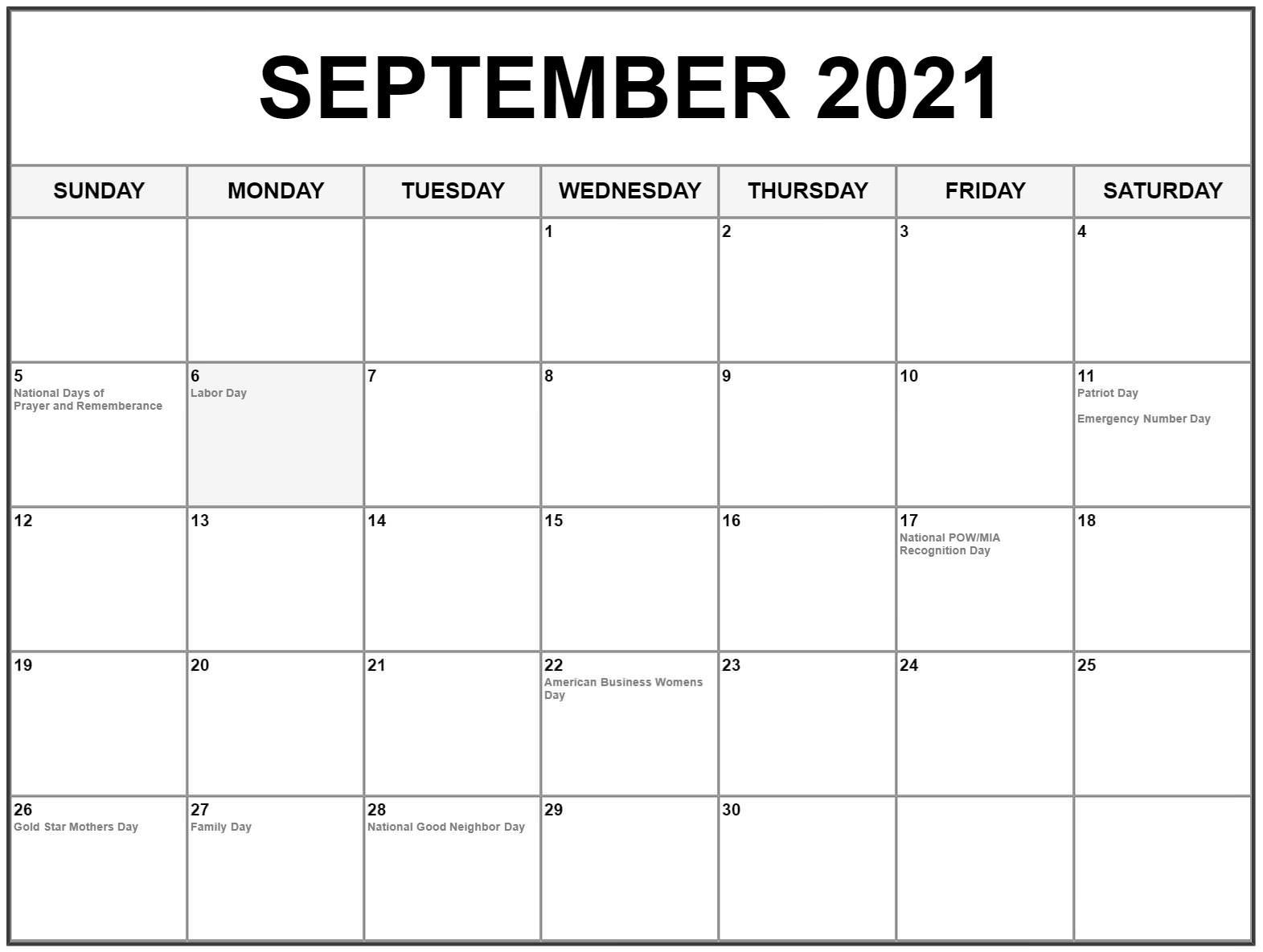 Print September 2021 Calendar with Holidays
