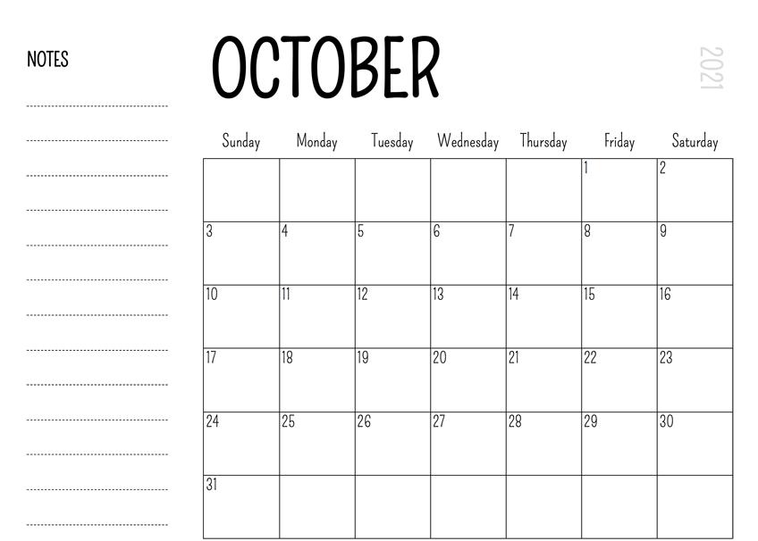Printable October 2021 Calendar Monthly